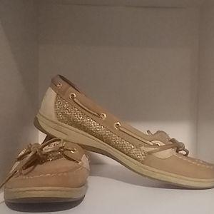 Gold glitter sperrys